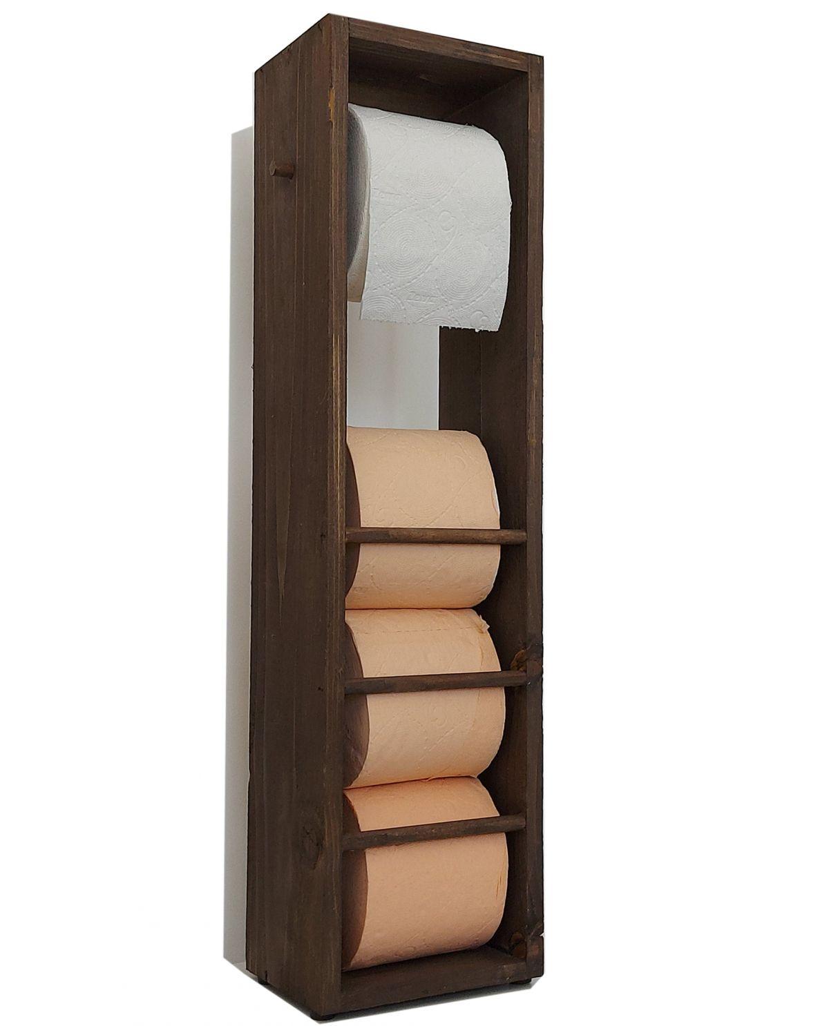 Suport hartie igienica din lemn Homs, 62x14 cm,nuc