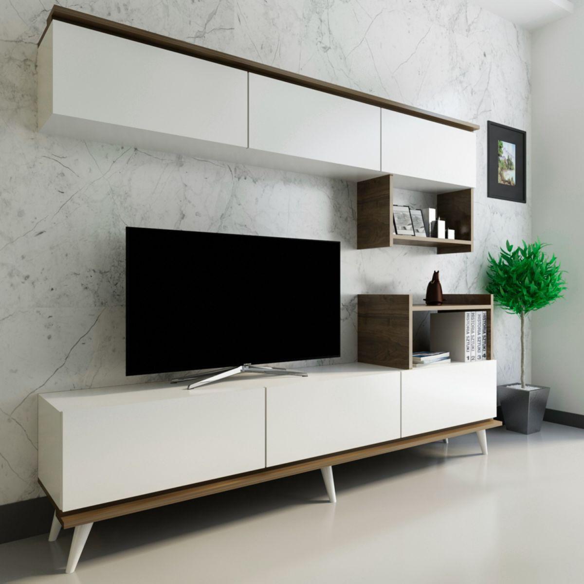 Ansamblu mobilier 2 piese living, Nocce Homs, 180.4 x 33.1 x 72 cm, alb/nuc