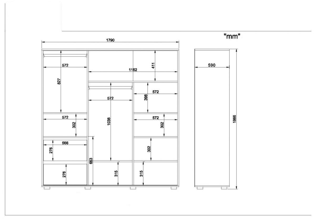 Sifonier 3 usi glisante alb nuc , SD005-169013
