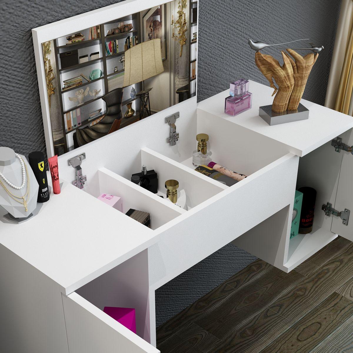 Masa toaleta suspendata cu oglinda, Laura Homs, 100 x 376 x 723 mm ,alb