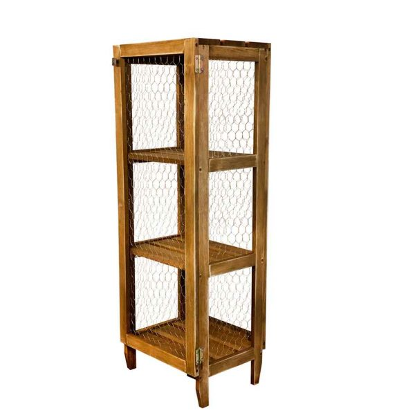 Dulap din lemn cu plasa, Telli Homs, 116 x 40 x 31 cm,maro