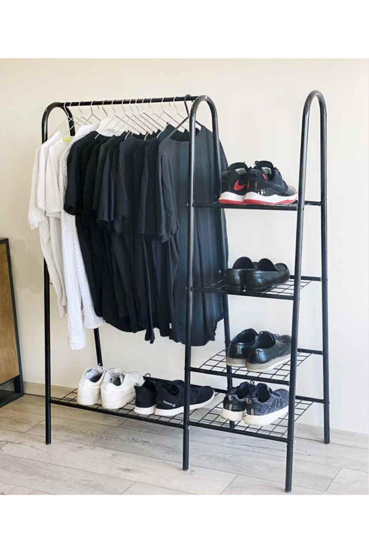 Stand suport umerase si pantofi, Garderob Homs, metal, negru