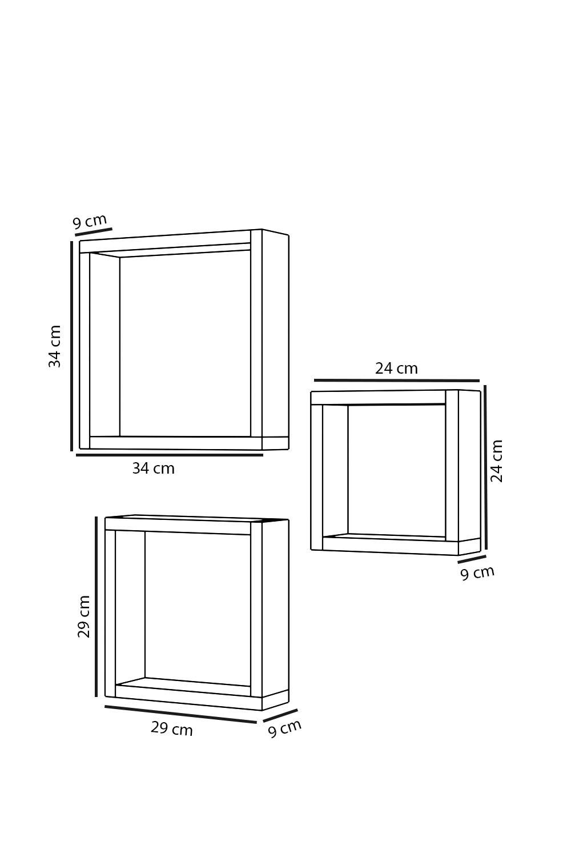 Set 3 rafturi din lemn patrate Karen Homs, 34 x 34 x 9 cm, maro