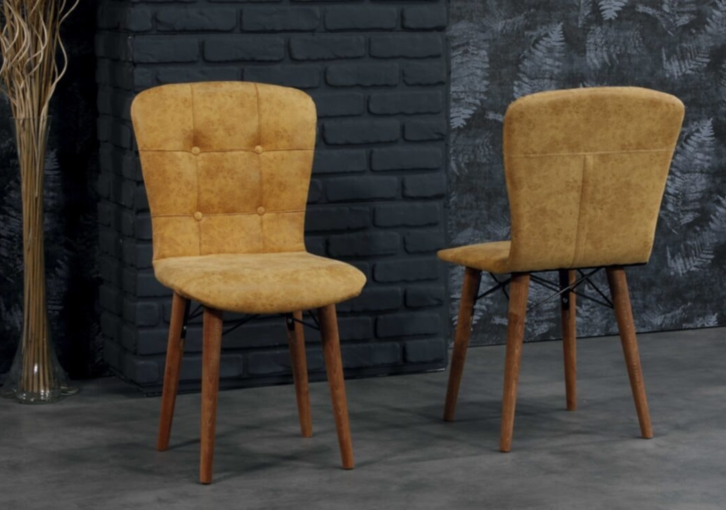 Set masa extensibila cu 6 scaune tapitate Homs cristal  negru-mustar 170 x 80 cm