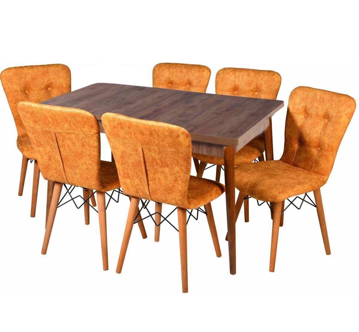 Set masa extensibila cu 6 scaune tapitate Homs cristal  nuc-mustar 170 x 80 cm