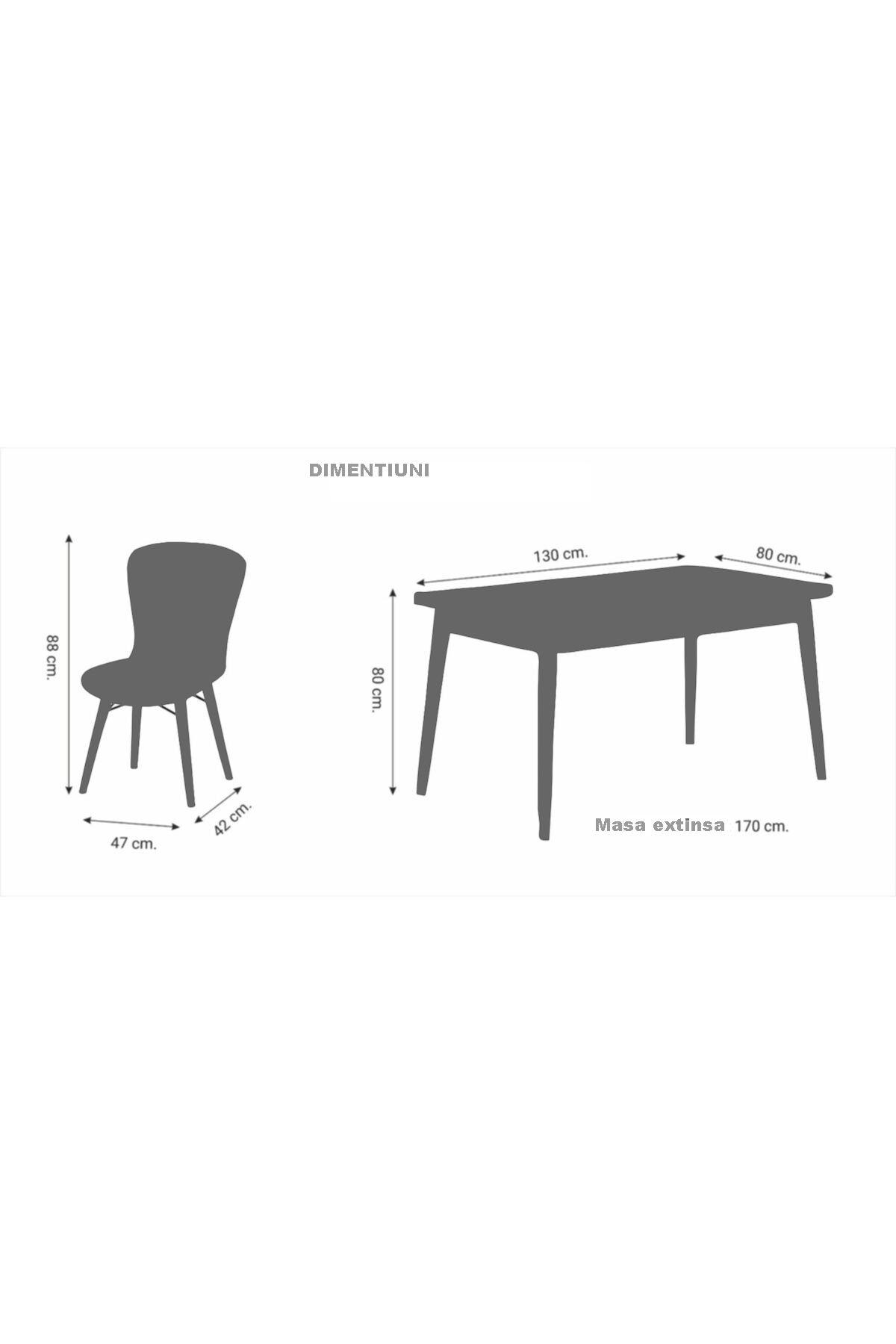 Set masa alba extensibila cu 4 scaune tapitate griHomspicioare lemn 170 x 80 cm