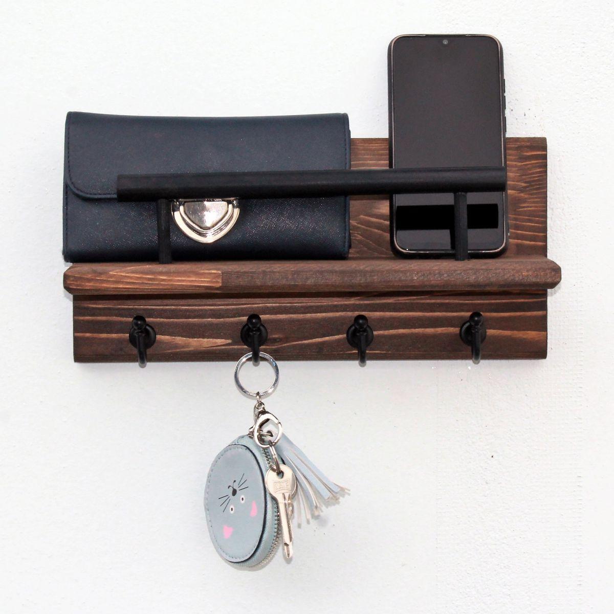 Cuier din lemn cu 4 agatatori cod 1006 Homs 32x 15 cm, maro nuc