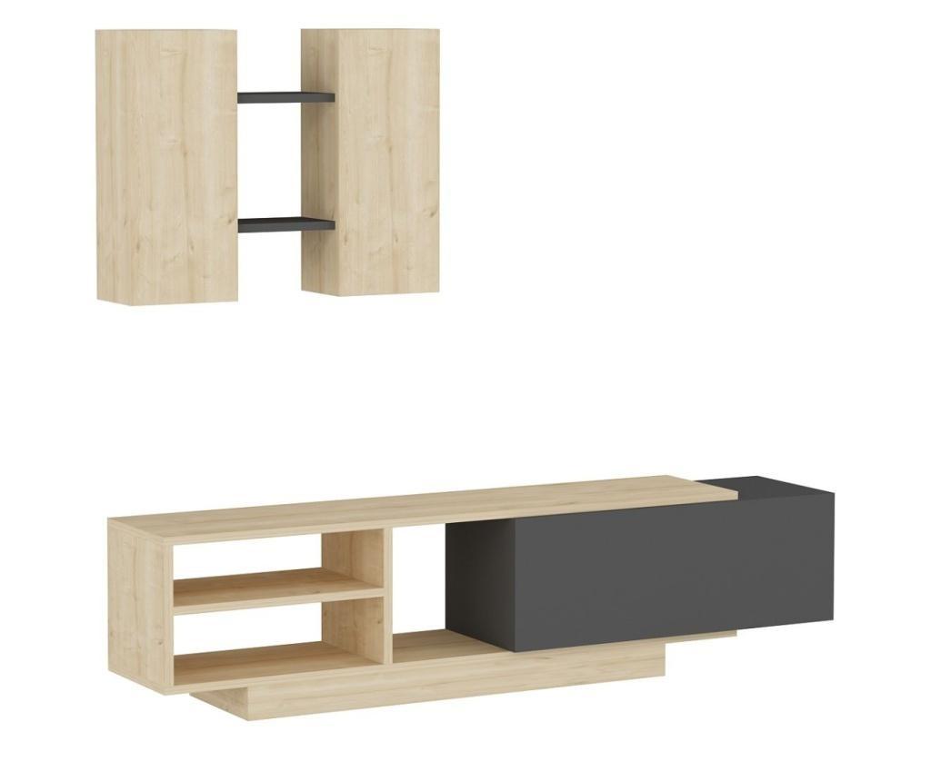 Set comoda tv cu corp suspendat Begonia Homs, 140 x 43.6 x 31.6 cm, stejar/gri