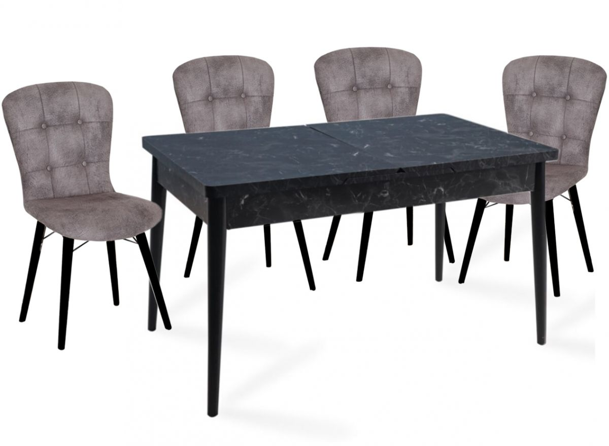 Set masa extensibila cu 4 scaune tapitate Homs marmorat negru 110 x 70 cm