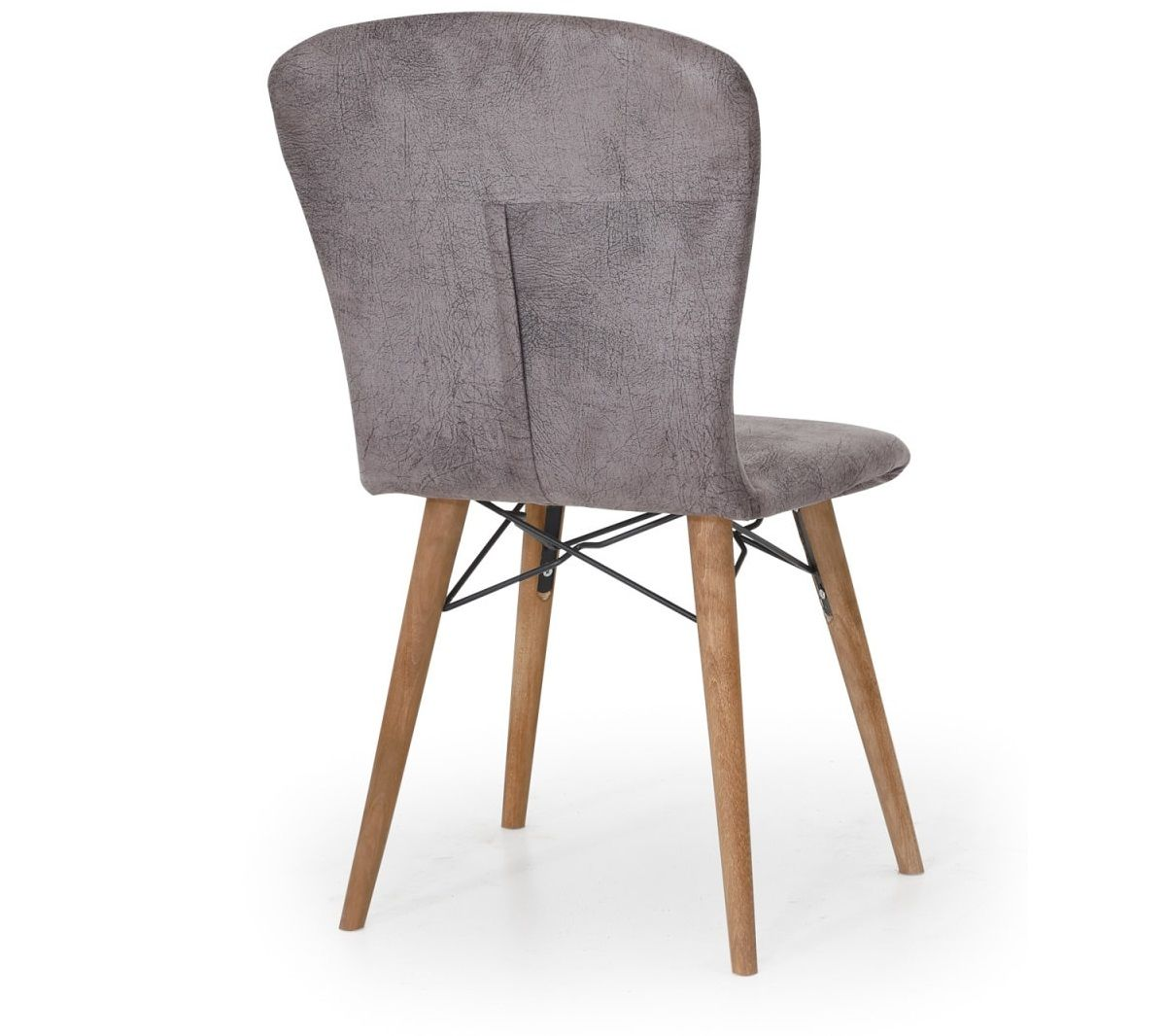Set masa alba extensibila cu 4 scaune tapitate griHomspicioare lemn 110 x 70 cm