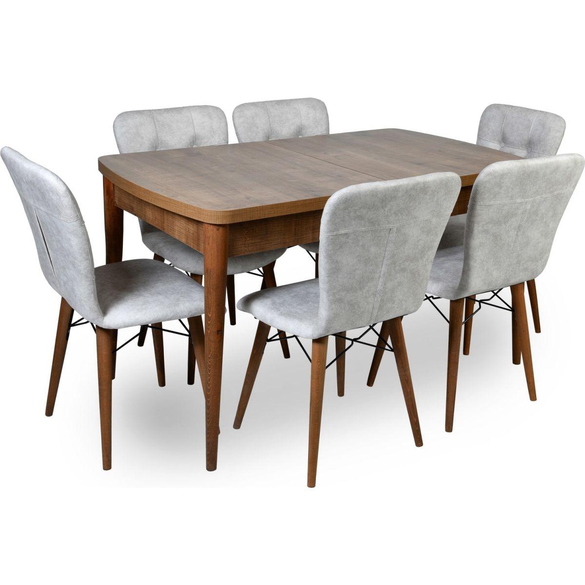 Set masa extensibila cu 4 scaune tapitate Homsnuc/bej 110 x 70 cm picioare lemn