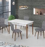 Set masa extensibila cu 4 scaune tapitatealb-negru Homs cristal 110 x 70 cm
