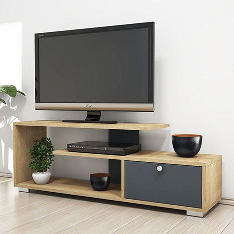 Comoda tv cu sertar Homs120 x 42 x 30 cm, stejar-gri