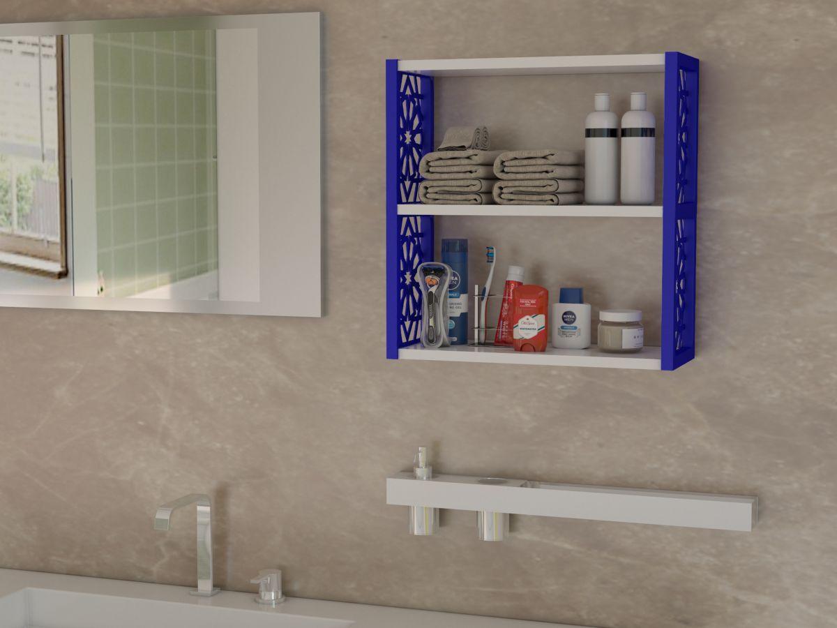 Raft de perete din PAL/PPE, Lulu Homs, alb-albastru, 50 x 45 x 20 cm