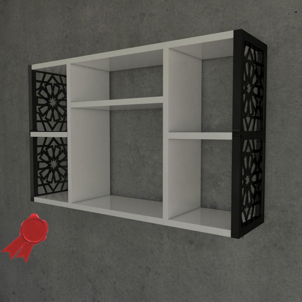Raft de perete pentru baie- bucatarieLulu Homs80 x 50 x 20 cm, Alb-negru