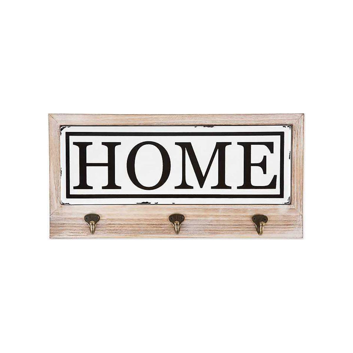Cuier hol cu 3 agatatori din lemn Home Homs, 35 x 25 cm, maro rustik