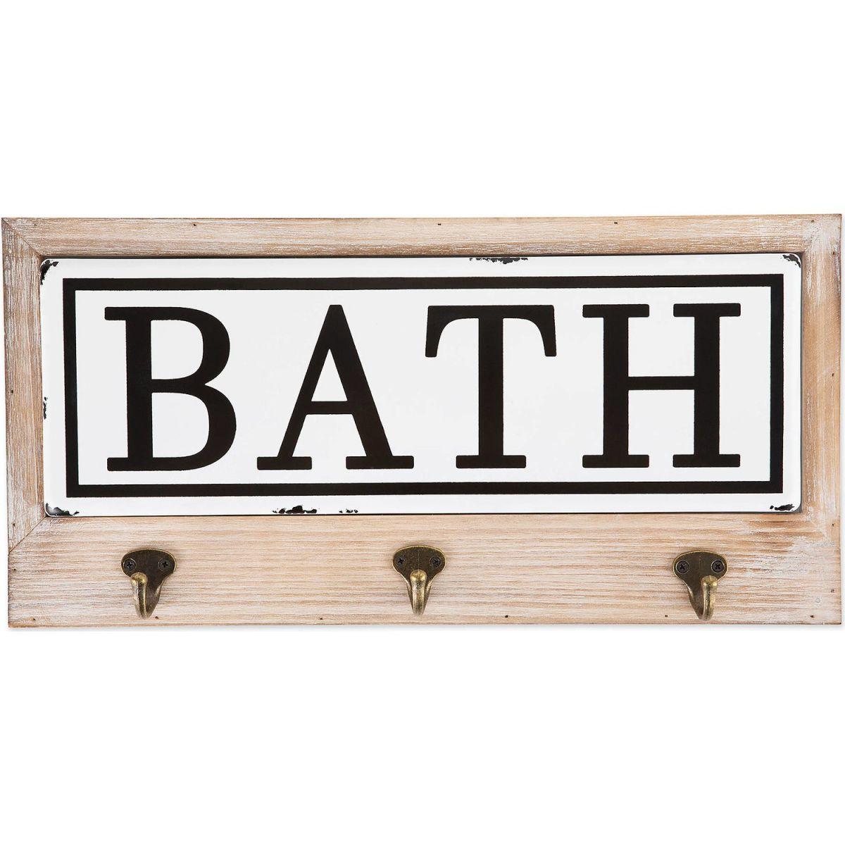 Cuier pentru prosoape cu 3 agatatori Bath Homs 35 x 25 cm, maro rustik