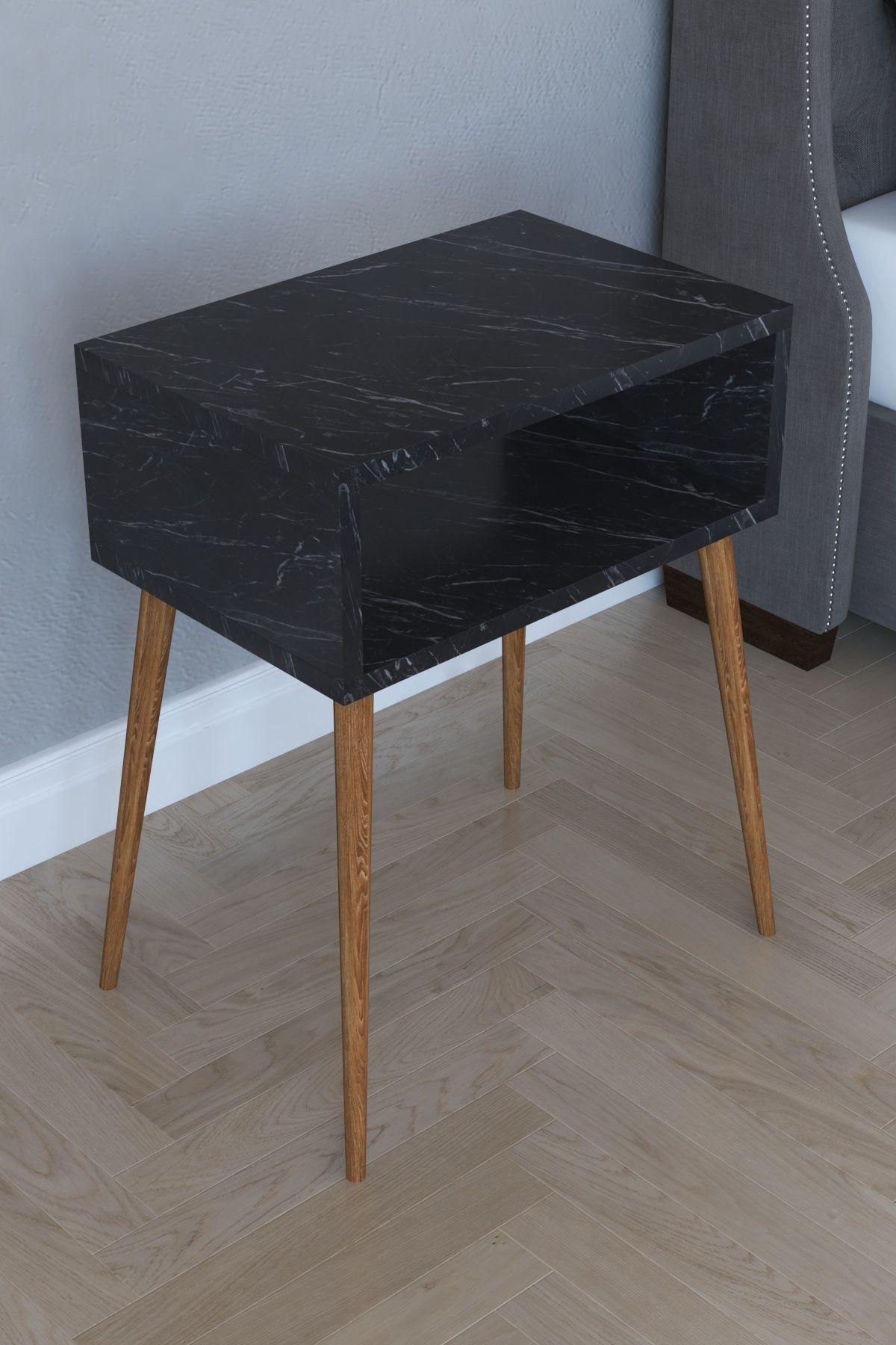 Noptiera moderna deschisa Milena Homs45 x 30 x 60 cm, negru marmorat