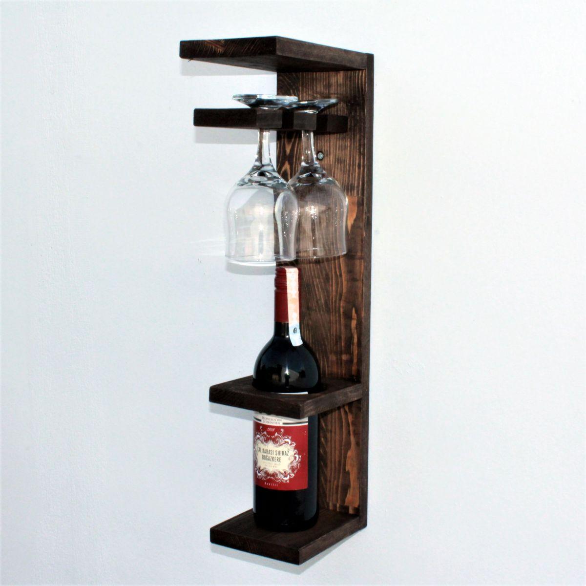 Suport sticla vin din lemn 1001 Homs 12 x 55 x 15 cm, Maro