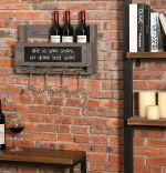 Suport sticle pentru perete din lemn Vino Homs 50 x 30 cm, gri antracit