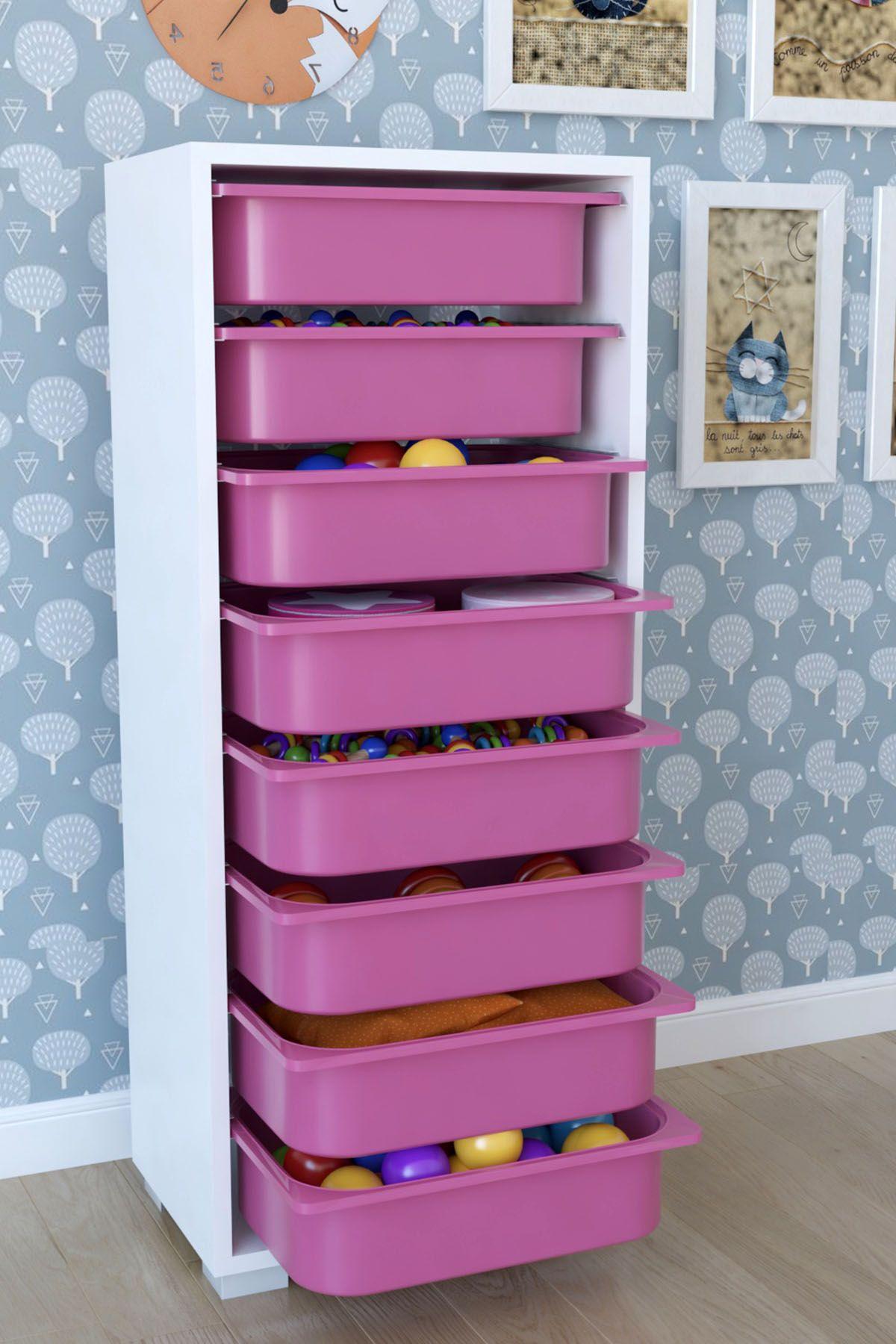 Dulap cu 8 sertare, Steli Homs, 45 x 30 x 109,5 cm alb-roz, palppe