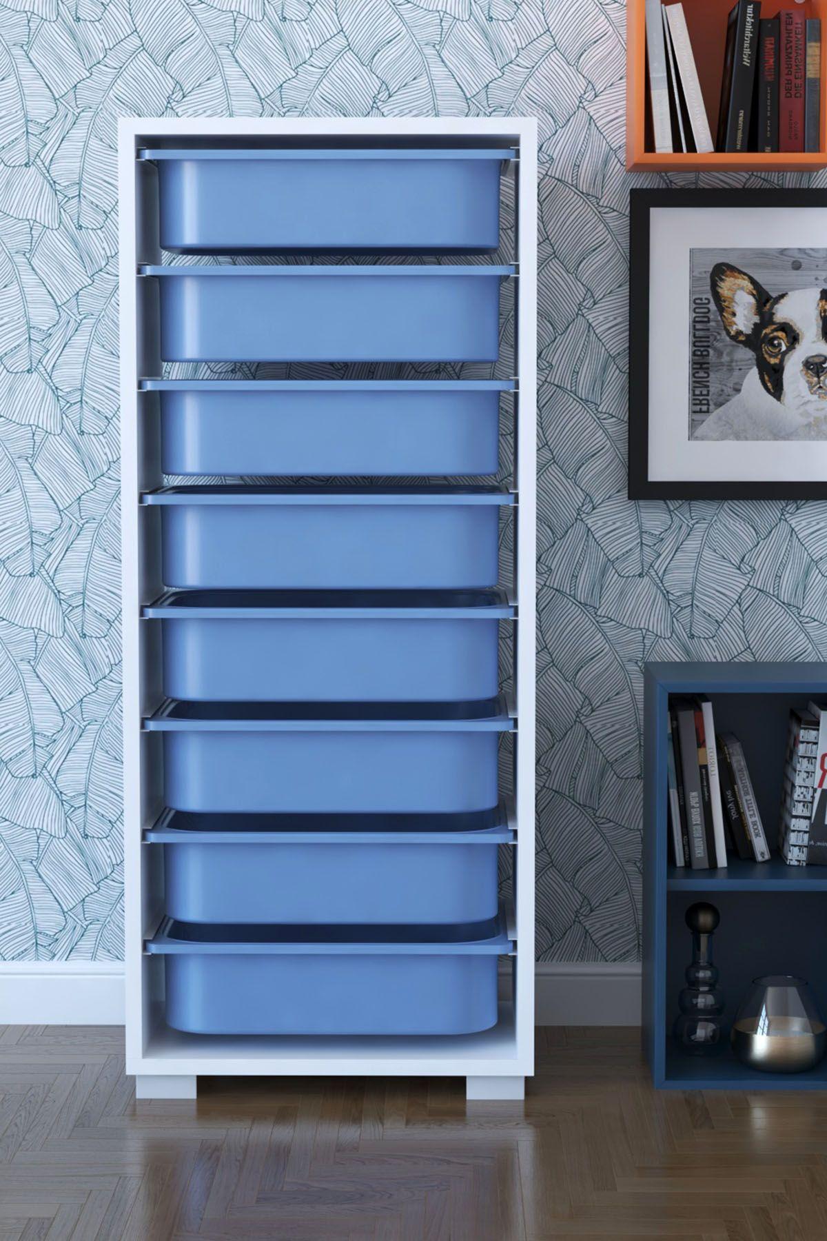 Dulap cu 8 sertare, Steli Homs, 45 x 30 x 109,5 cm alb-albastru, palppe