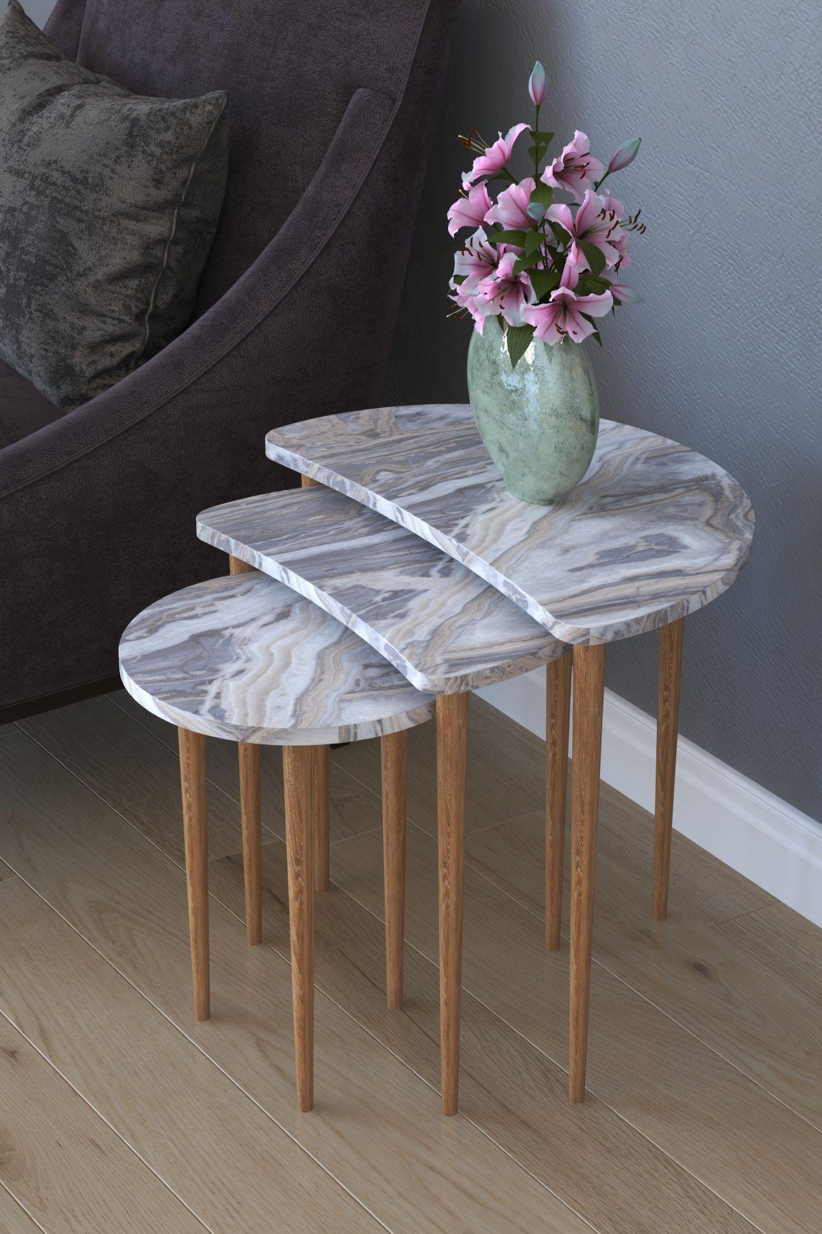 Set 3 masute cafea Moon Homs marmorat alb/nuc