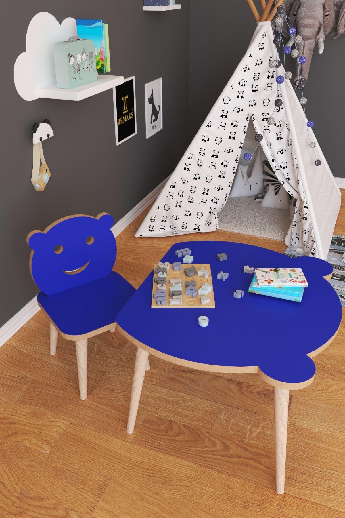 Set masa+ 1 scaun pentru copii Panda Homs, Albastru