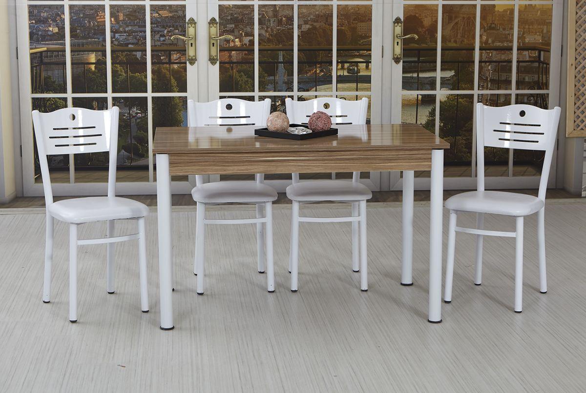 Set masa cu 4 scaune bucatarie BellaHoms70 x 120 cm Alb-Nuc