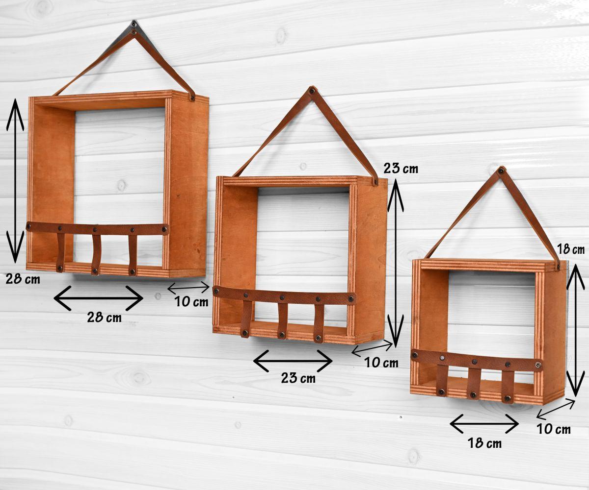 Set 3 rafturi perete din lemn stratificat si piele Life Homs28 x 10 x 28 cm