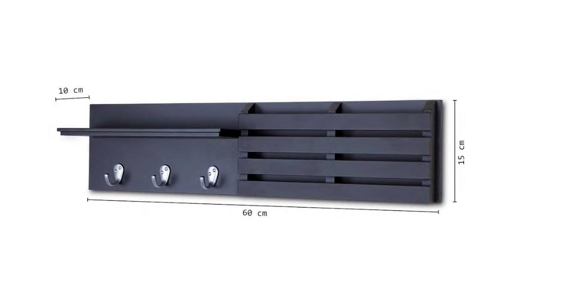Resigilat:Cuier cu 3 agatatori, Antracit Homs, gri antracit, 60 x 15 x 10 cm, MDF
