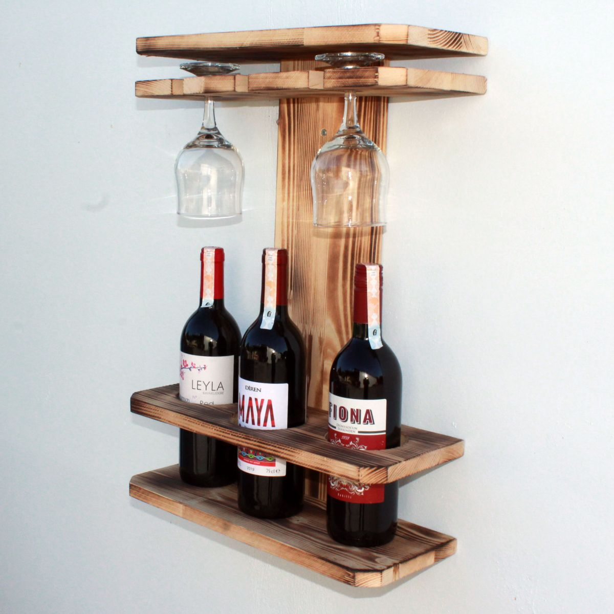 Suport 3sticle vin din lemn ars Homs 40 x 15 x 55 cm , Maro