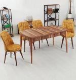 Set masa extensibila cu 6 scaune tapitate Homs cargold 250-30049 nuc-portacaliu 170 x 80 cm