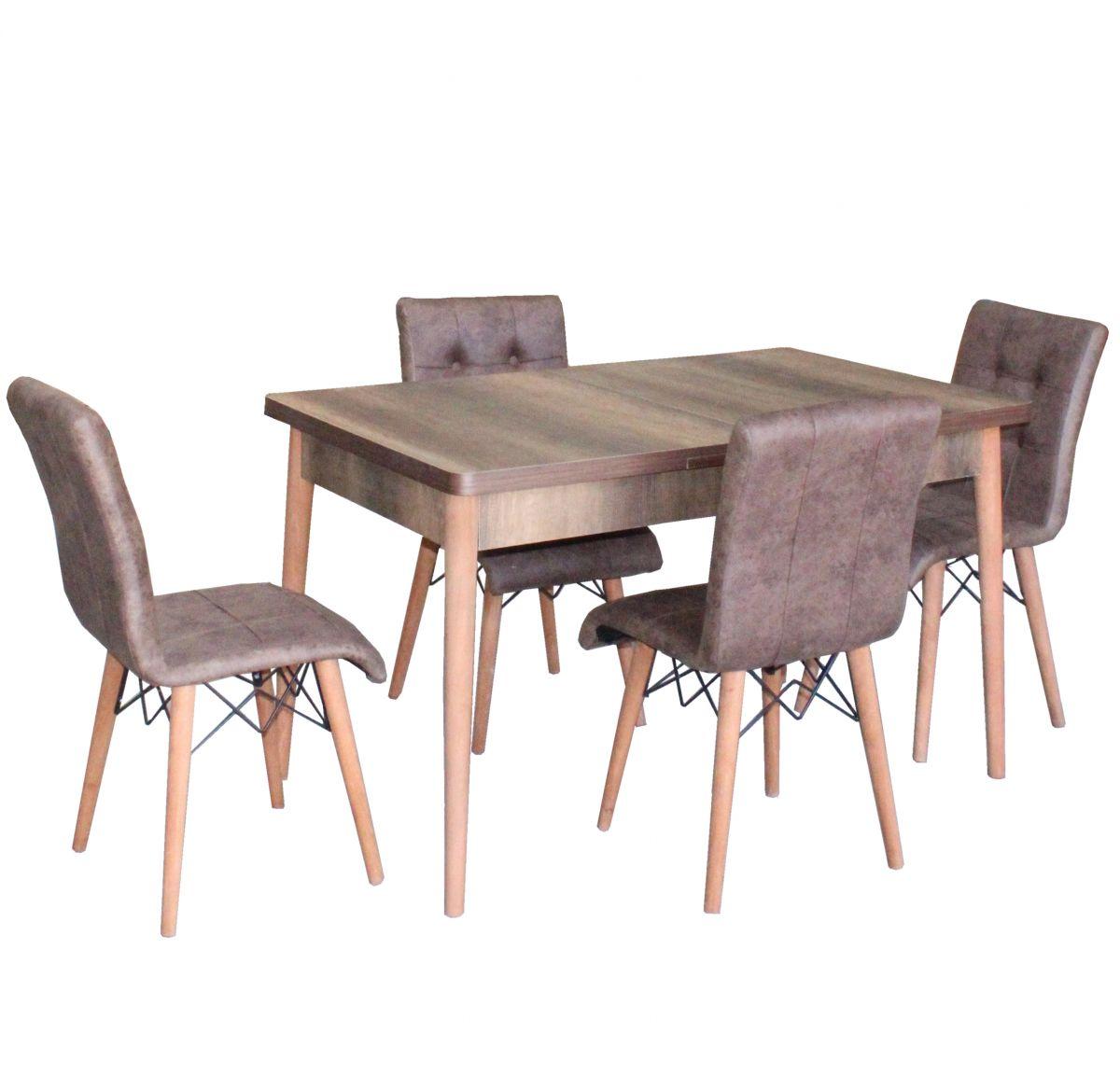 Set masa extensibila cu 4 scaune tapitate Homs  250-30300 nuc-maro 170 x 80 cm
