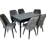 Set masa extensibila cu 6 scaune tapitate Homs cargold 250-30051 negru- gri 170 x 80 cm