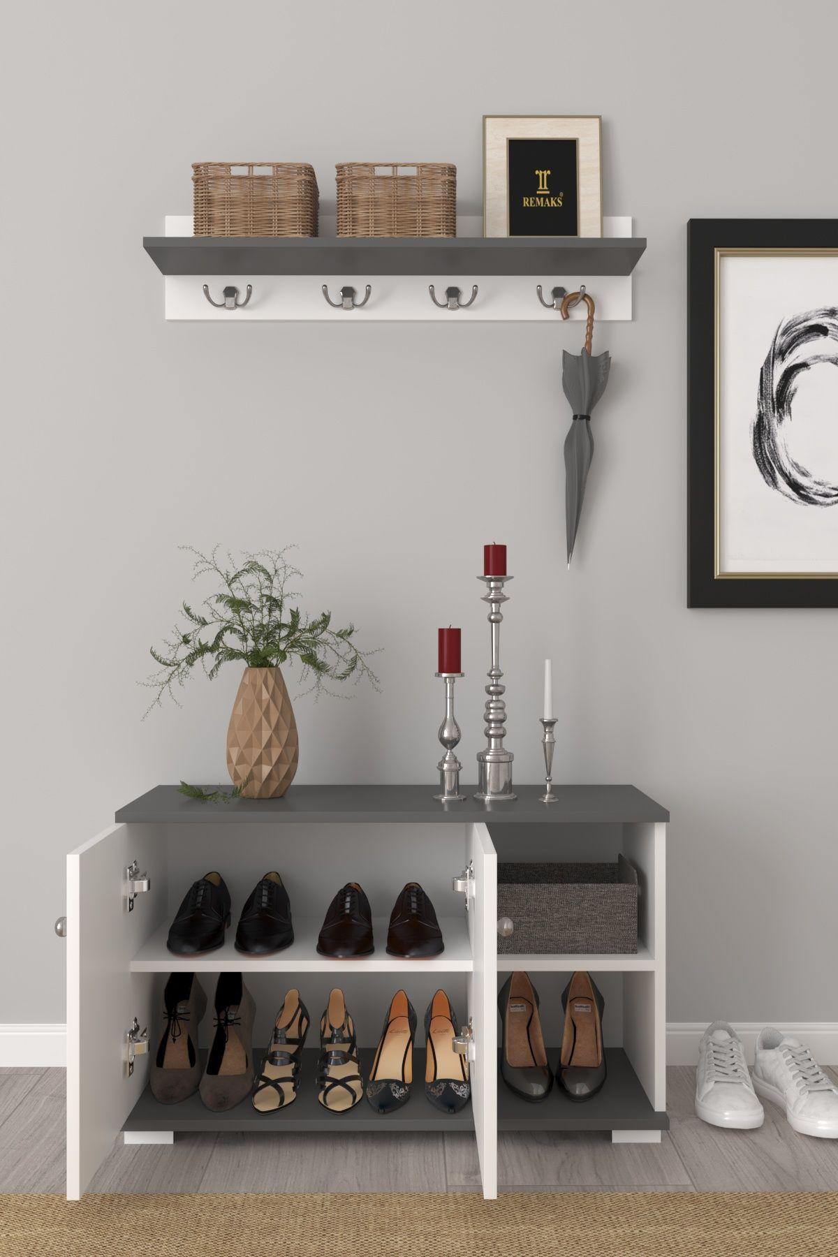 Cuier cu pantofar hol Royal Homs 90 x 33 x 52,5 cm Alb-gri