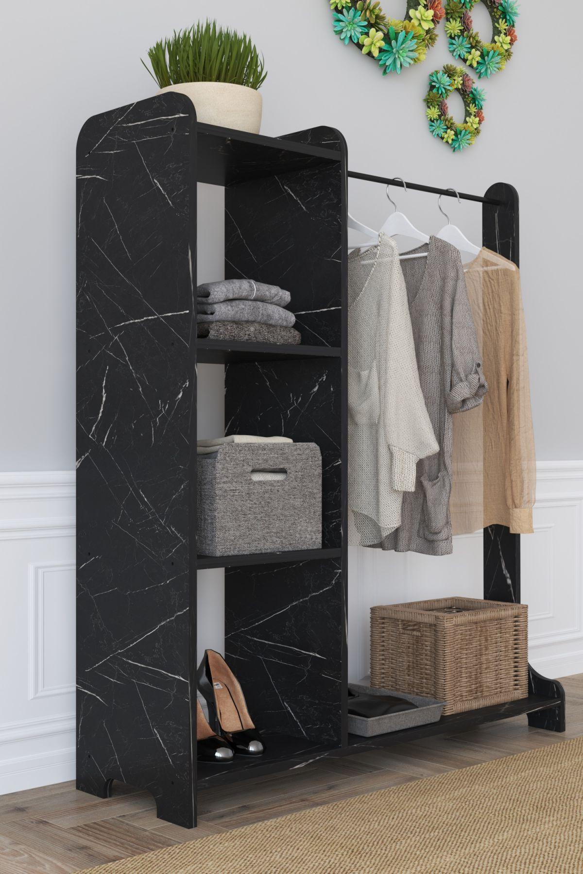 Suport umerase cu 3 rafturi Moda Homs 106 x 35 x 128 cm, Negru marmorat