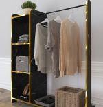Suport umerase cu 3 rafturi Moda Homs 106 x 35 x 128 cm,   Negru marmorat-auriu